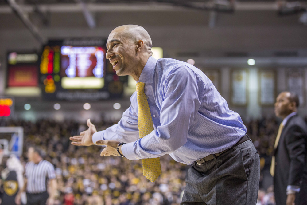 "Former Rams head coach Shaka Smart asks, ""Do we really need those recessed lights? Is it not bright enough in here already?"""