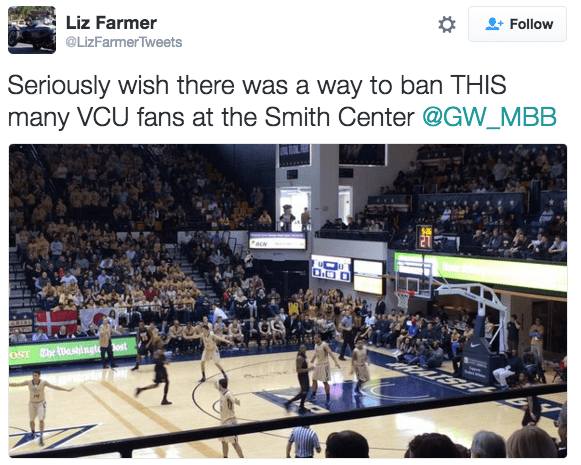 A GW fans tweets about VCU's recent takeover of the Colonials' Smith Center in a key A-10 conference game.