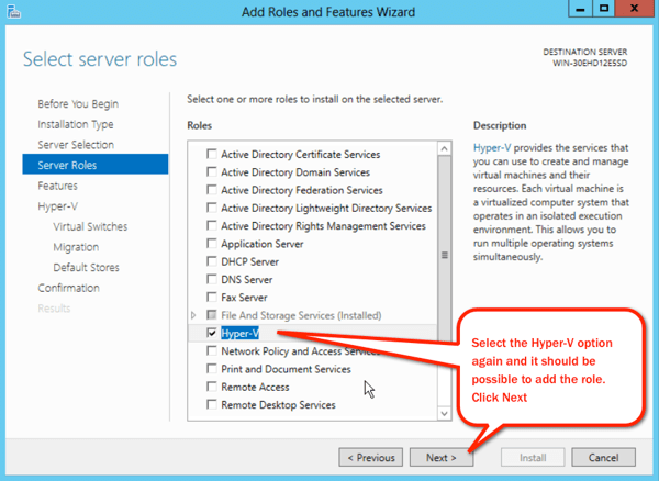 Select HyperV role