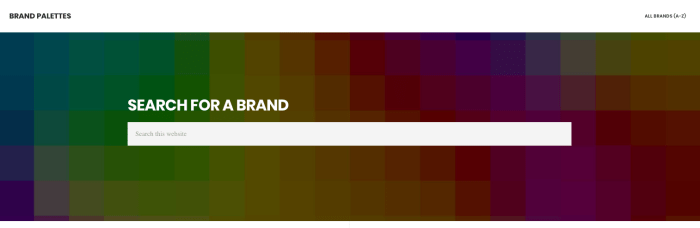 Brand Palettes header image with search bar