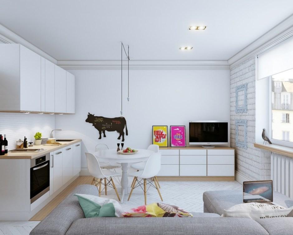 arredamento in stile nordico: le immagini della cucina laccata bianca lucida che da sul soggiorno