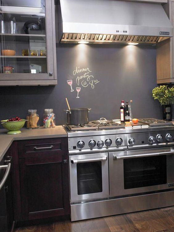 idee paraschizzi cucina con pittura lavagna