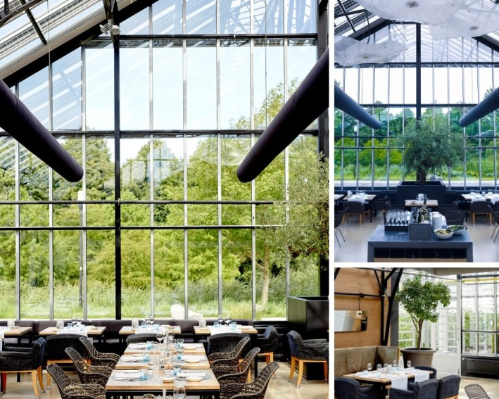 interno del ristorante De Kas con dettaglio dei tavoli e delle sedie