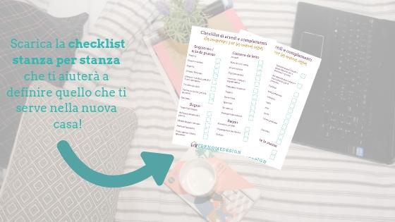 banner blog per scaricare la checklist dove cominciare per arredare casa