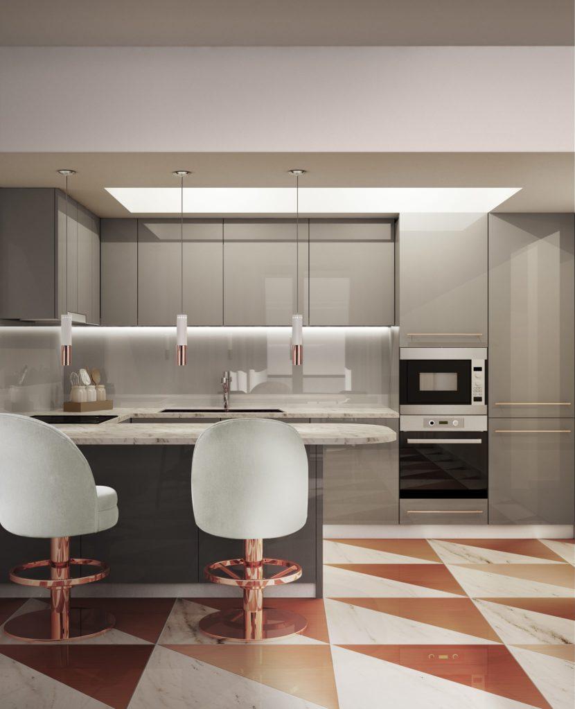 schemi di colore per la cucina: una cucina in laccato grigio lucido