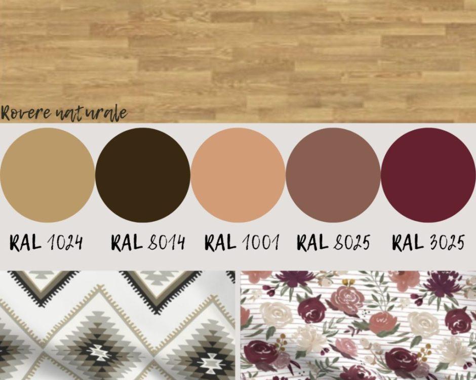 schemi di colore con rovere naturale e rosa
