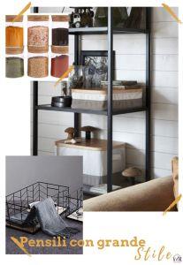 organizzare i pensili della cucina con barattoli in vetro e cesti di differenti misure