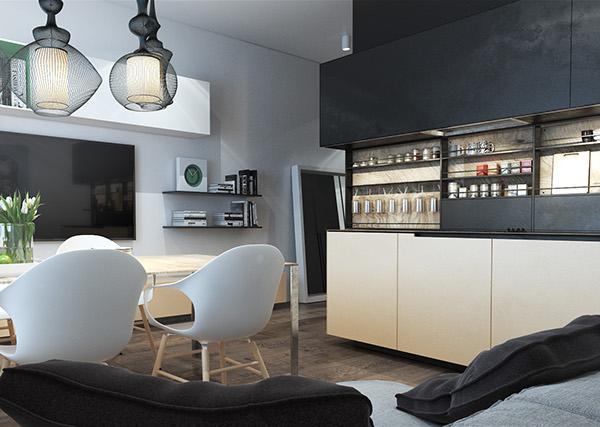 Casa piccola con cucina bicolore: rovere sbiancato e nero