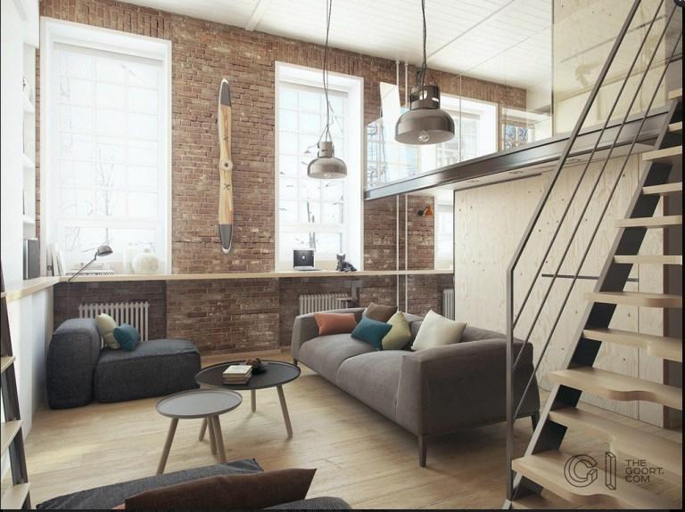 Loft in stile industriale con mensole sotto finestra e cucina sotto scala