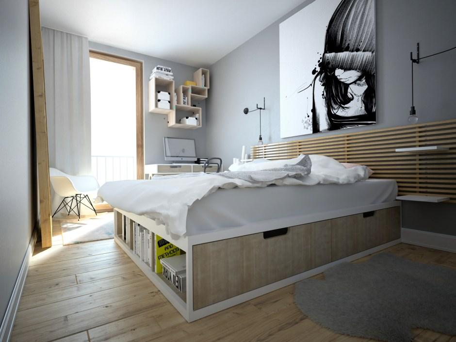 idee per arredare una casa piccola: scegliere un letto contenitore