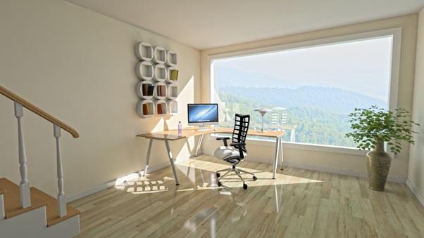 arredare un ufficio in casa con vista dalla finesra