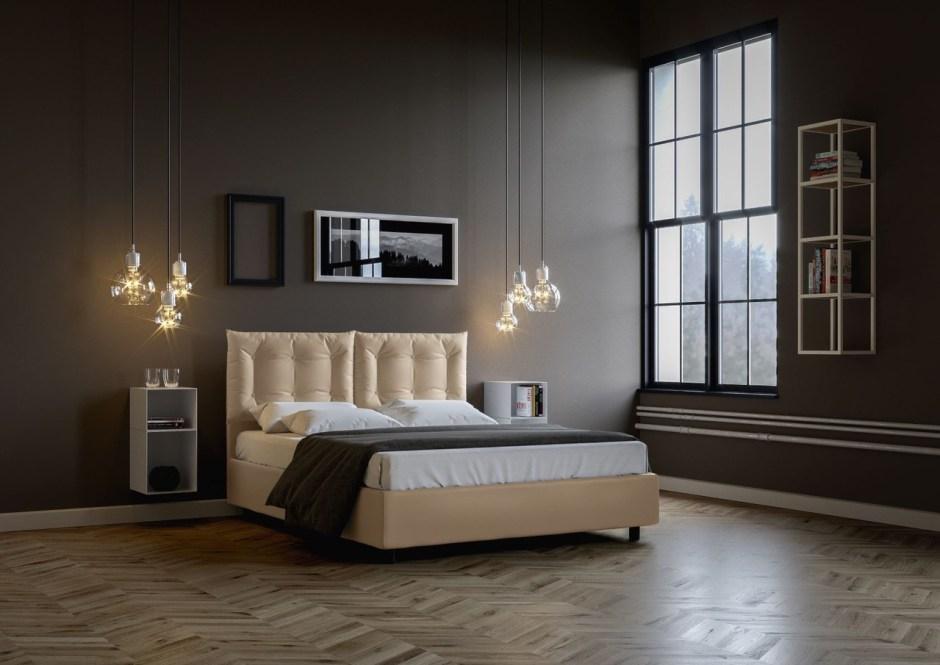 camera da letto in stile classico con pareti grigio scuro, luci in vetro a sospensione e letto contenitore in tessuto