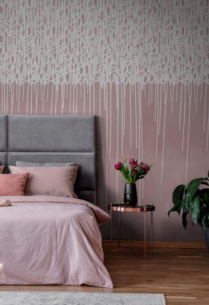 carta da parati per testata letto rosa e bianca effetto pennello