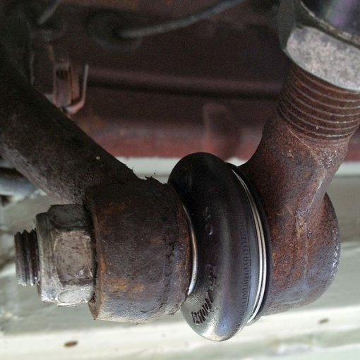 The new front steering drag link ball joint dust cover boot fitted