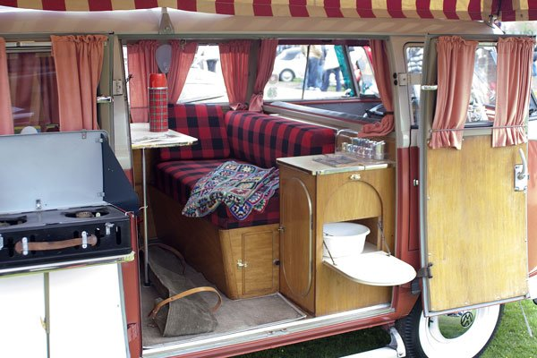 Early classic VW camping interior
