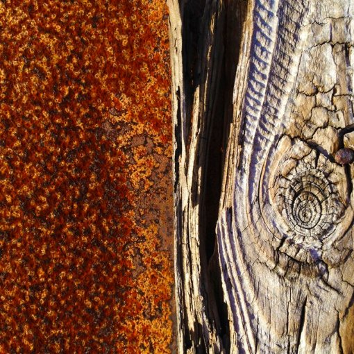rusted metal and weathered timber