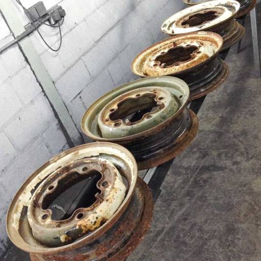 "a set of five straight and true original VW 15"" steel bus wheels"