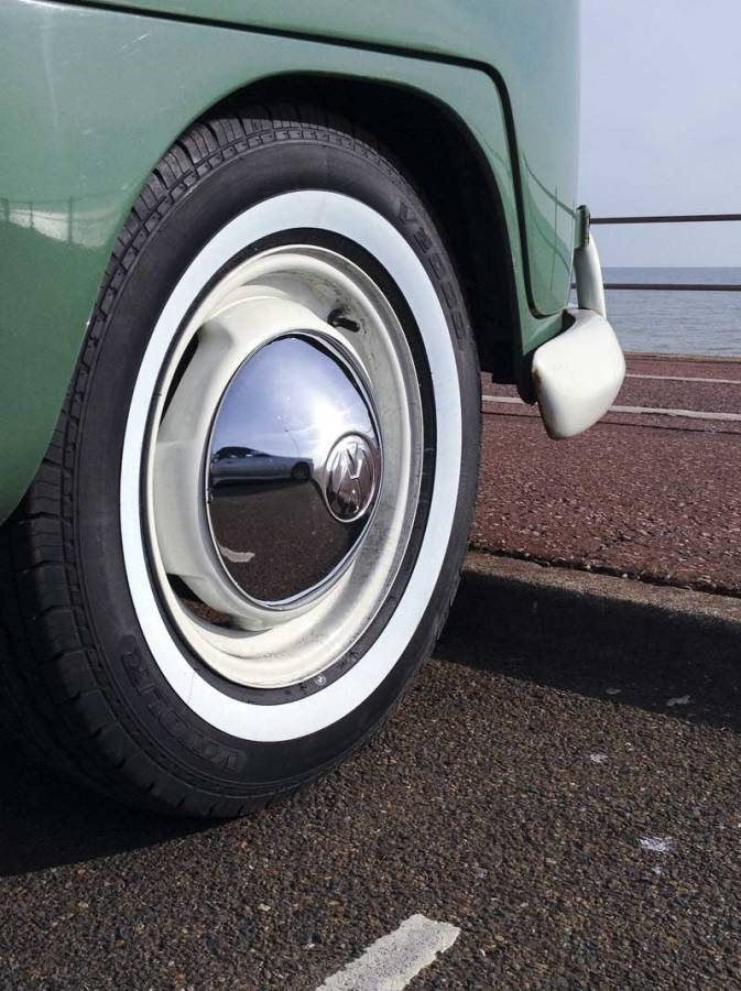 """the 195/80/R15 white band tyres on the original VW 15"""" steels looking sweet"""