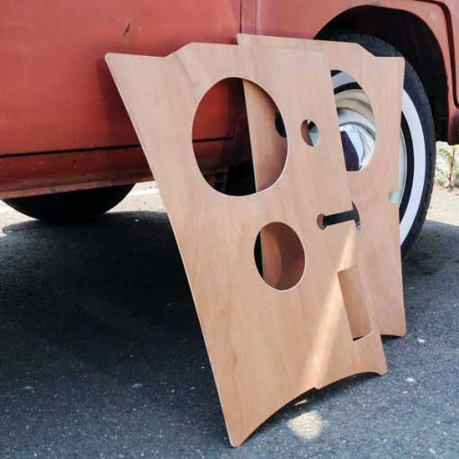 additional component speaker holes cut in the plywood kick panels