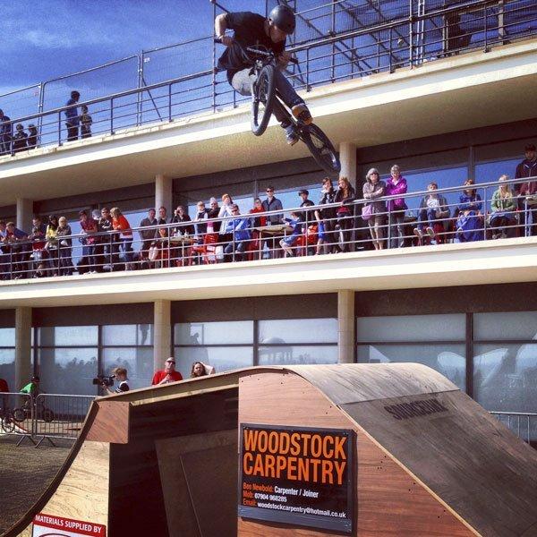 Amazing BMX tricks at the Source BMX 10th Anniversary showcase at the De La Warr Pavilion, Bexhill
