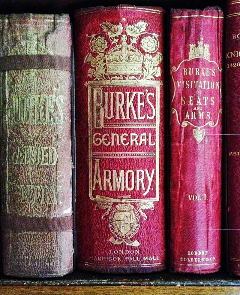 beautiful vintage books in the Calke Abbey library