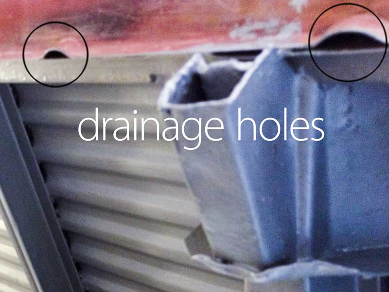 shaped pressings as drainage holes in the sills to allow any water to escape from within