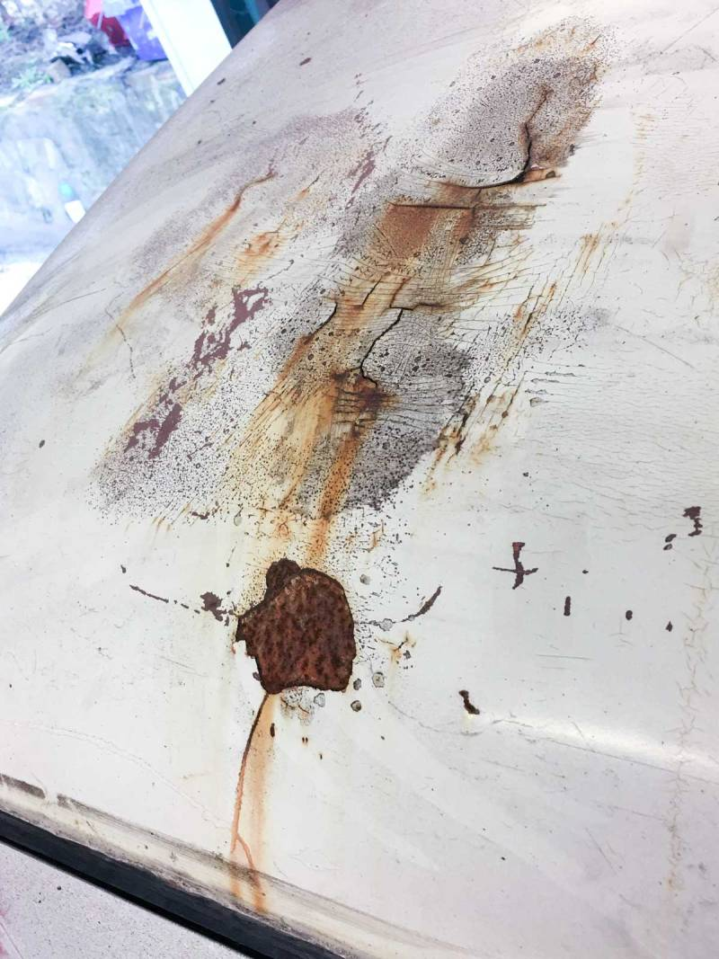 cracks in an old roof dent repair are in need of looking at again