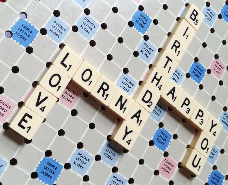 a vintage travel scrabble game for Lornas birthday
