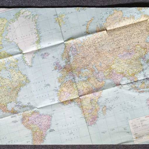 original vintage world map for the undershelf finish