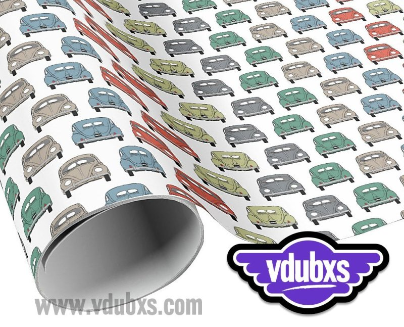"""cool colourful classic car wrapping paper - 30"""" width x length with multiple choices from 6 feet - 60 feet"""