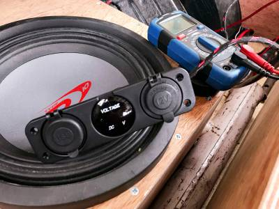 stealth install subwoofer and Triple Function Dual USB Charger, LED Voltmeter and 12V Outlet Power Socket