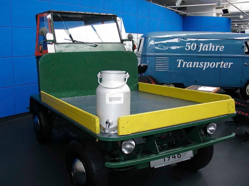 a vintage Volkswagen Plattenwagen at the VW museum in Wolfsburg, Germany