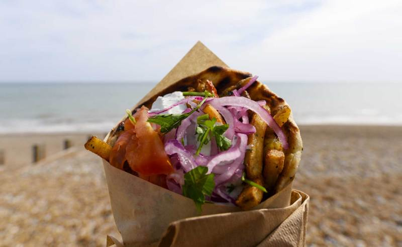 a delicious Souvlaki from the fantastic Girls Gone Greek seaside street food