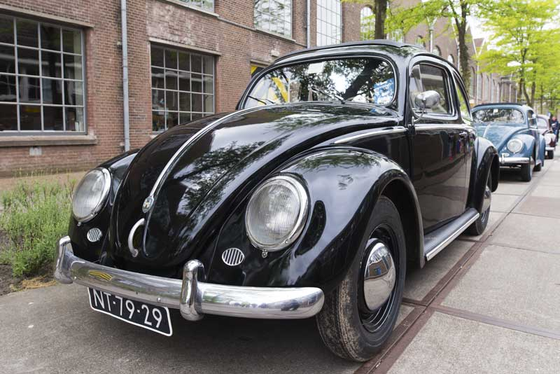 beautiful black split window ragtop beetle