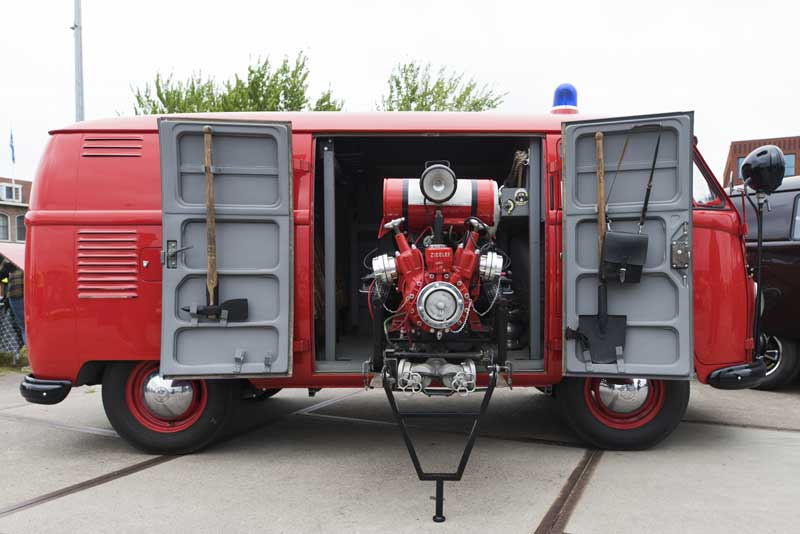 fully kitted out vintage VW fire bus with all the equipment, pump and hoses