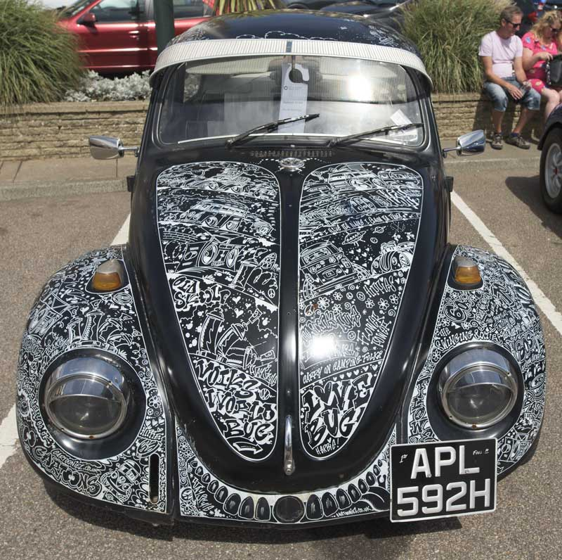 funky illustrations and typography give this Beetle a unique look