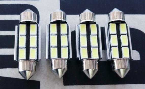 36mm Festoon C5W LED Bulbs – 6000K White Light 6-SMD 5730 Chipsets