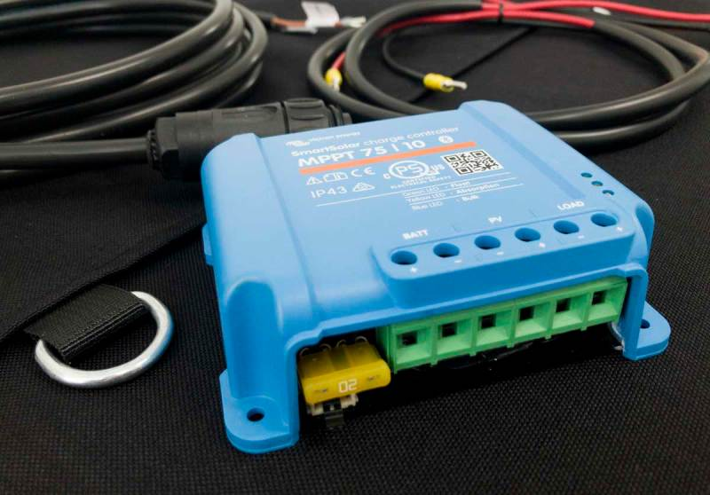 Victron Bluesolar Smart MPPT (Maximum Power Point Tracking) charge controller, the brains of the solar power system
