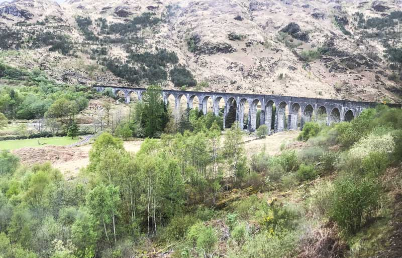 crossing the 21-arched Glenfinnan viaduct from the Harry Potter films