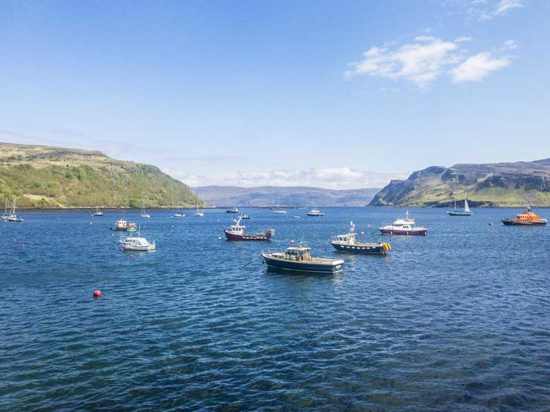 tranquil view of Portree from the harbour