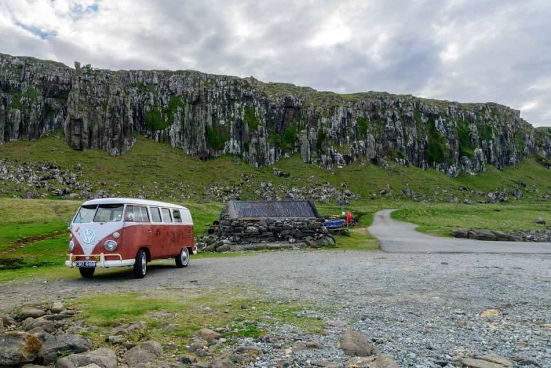 Staffin slipways dramatic mountain backdrop