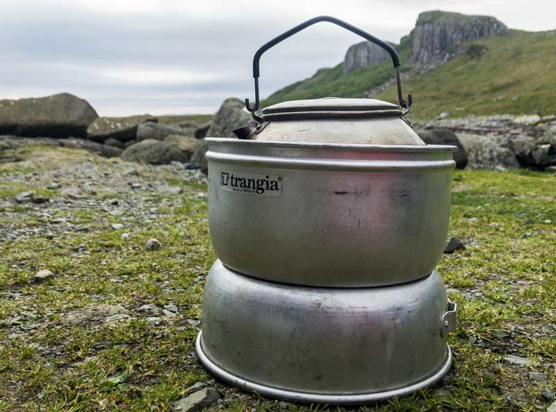 tea time… my trusted Trangia stove and kettle have been keeping me going for over 40 years!