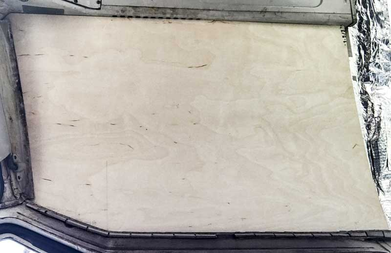passenger seat overhead view of the ply headliner