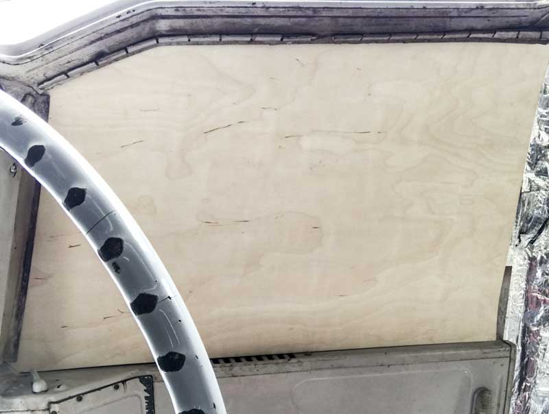 drivers seat overhead view of the ply headliner