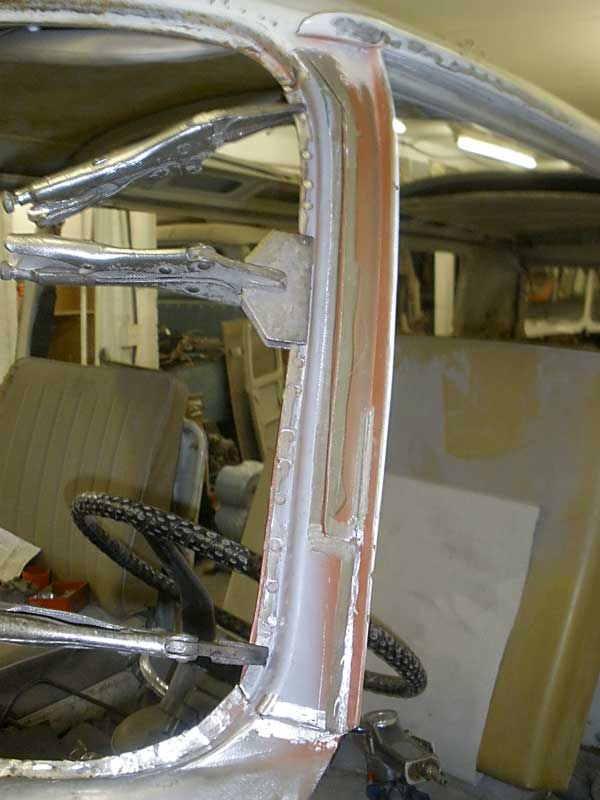 Repair section then gets positioned and clamped in place ready to weld in place