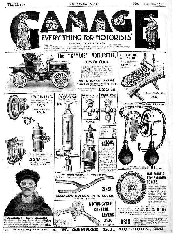 Vintage Gamages of Holborn, London advert for 'Everything for Motorists'