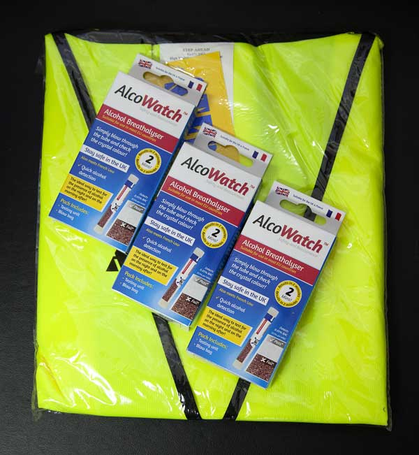 reflective safety vest and disposable alcohol breathalysers
