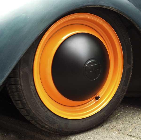 standard solid steel VW Beetle wheel with a modern colour style twist