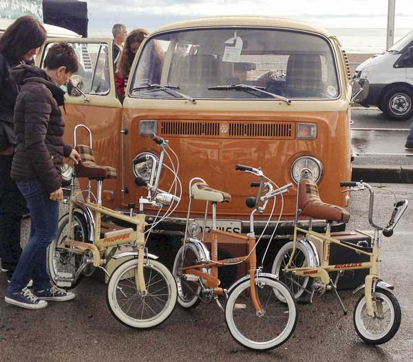 classic 1970's bikes keeping the orange brown vibe alive