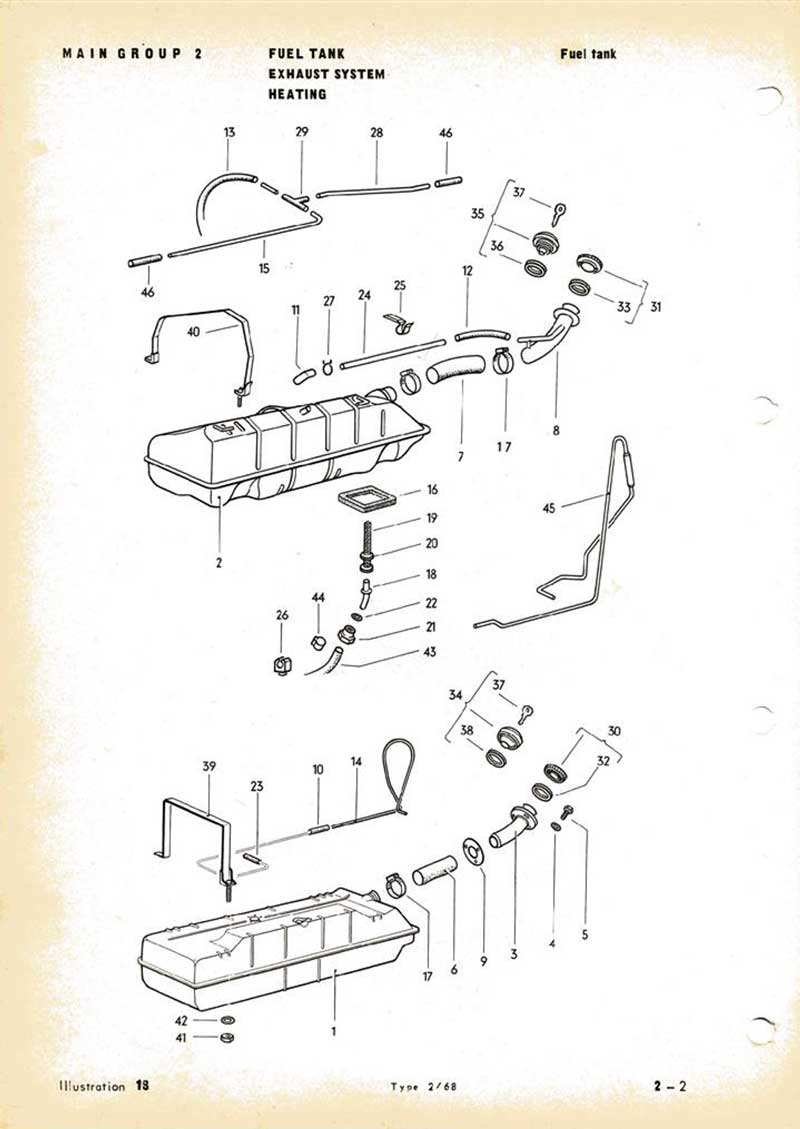 parts list diagram for an August 1971 VW Early Bay fuel tank (top pic)